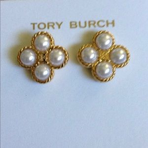 Tory Burch pearl clover earrings